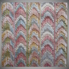 Vintage Fabric Sample High End Cut Velvet Bargello Flame Effect Pink Blue Upholstery