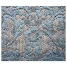 Vintage Fabric Sample High End Cut Velvet Blue Cream Upholstery