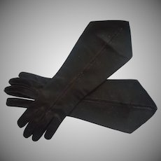 Vintage Gloves Black Pointed Modified Gauntlet Style Fabric
