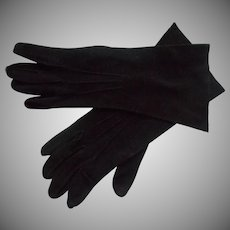 French Gloves Vintage Black Leather Kislav 7
