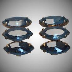 1940s Sterling Earrings Blue Rhinestones Vintage Gold Wash Vermeil