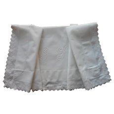 Monogram G. S. Antique Layover Pillow Sham Eyelet Lace TLC