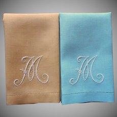Monogram M Vintage Pair Guest Towels 1940s Aqua Golden Yellow