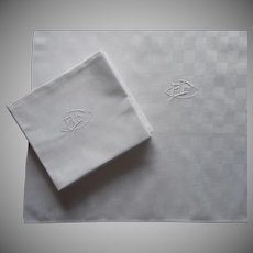 French Napkins Monogram A. F Large Vintage 1920s Cotton Damask