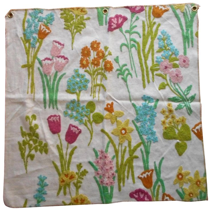 Vintage Fabric Sample Crewel Embroidery Bright Spring Flowers Sold