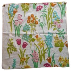 Vintage Fabric Sample Crewel Embroidery Bright Spring Flowers Upholstery