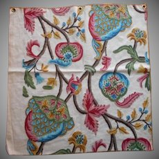 Vintage Fabric Sample Crewel Embroidery Upholstery