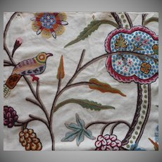 Vintage Fabric Sample Crewel Embroidery Birds Large Scale Upholstery