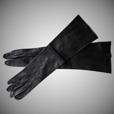 French Leather Gloves Vintage Black Unworn 15.5 Inches Long