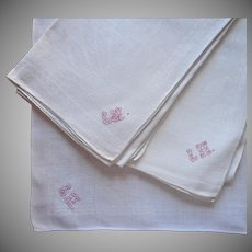 Monogram L. H. 3 Big Antique French Napkins Linen Damask