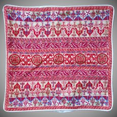 Vintage Hand Embroidery Pillow Cover Middle Eastern Red