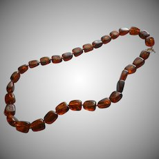 Crown Trifari Vintage Necklace Chunky Faux Amber Beads Plastic