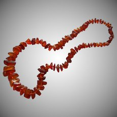 Vintage Amber Beads Necklace Vintage Graduated Natural Chunks