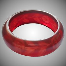 Vintage Lucite Reverse Carved Bracelet Cherry Amber Color