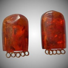 1930s Bakelite Clip Earrings Faux Amber Decorative Wire Work