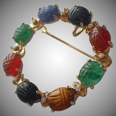 Scarab Pin Genuine Stones Class Circle Vintage Brooch