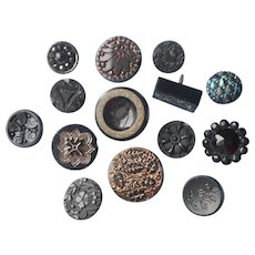 Victorian Buttons Black Glass 14 Assorted Antique