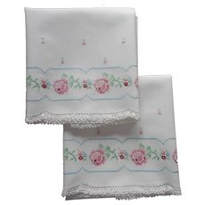 Vintage Pillowcases Unused Hand Embroidery Crocheted Lace
