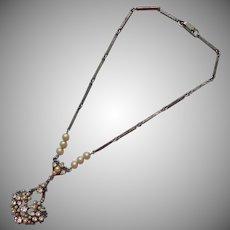 Edwardian Revival Vintage Necklace 1950s Faux Pearls Rhinestones