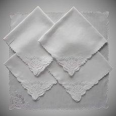 1920s Tea Napkins Cutwork Hand Embroidery Linen 5 Vintage