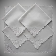 1920s Tea Napkins Cutwork Hand Embroidery Linen 5 Vintage