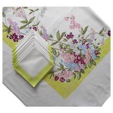 Vintage Tablecloth Napkins Set Printed Print Sweet Peas Chartreuse