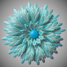 Vintage Enamel Flower Pin Turquoise Blue Big Shaggy Petals