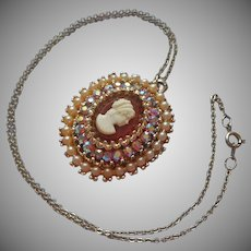 Vintage Cameo Pendant Necklace Faux Pearls AB Rhinestones On Chain
