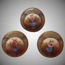 Enamel Buttons Antique 3 Hand Painted Pink Roses Mocha