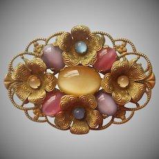 1920s Czech Pin Glass Moonglow Cabochons Brass Filigree