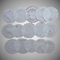 1910s 1920s Finger Bowl Doilies 15 Cutwork Linen Hand Embroidery