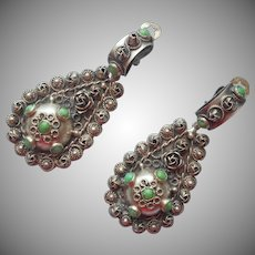 1930s 800 Silver Earrings Vintage Italian Big Dangle Canetille Green Stones