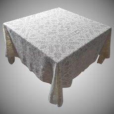 1920s Square Filet Lace Vintage Tablecloth 63 Inch TLC