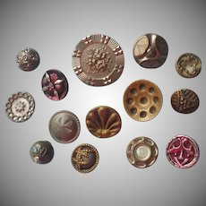 Victorian Metal Buttons 14 Assorted Antique w Mother Of Pearl Cut Steel
