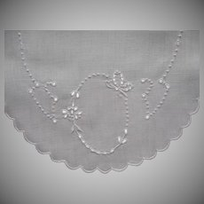 ca 1920 Tray Doily Butterfly Cutwork Hand Embroidered Linen Vintage