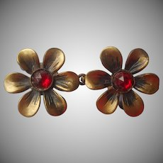 1930s Cloak Fastener Vintage Small Jacket Red Stones Metal Flower Form