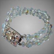 Vintage Bracelet AB Crystal Beads 2 Strand Large Rhinestone Clasp