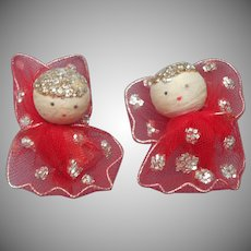 1950s Earrings Christmas Spun Cotton Angels Vintage Red Nylon Wings