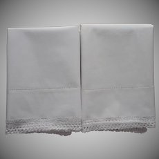 Vintage Pillowcases Simple Unused Cotton Crocheted Lace Trim All White