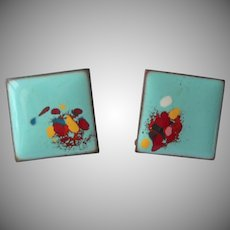 1950s Enamel On Copper Earrings Aqua Red Square