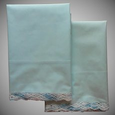 Vintage Pillowcases Robins Egg Blue Cotton w Crocheted Lace Unused