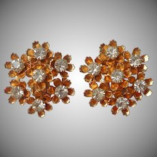 1950s Coro Earrings Vintage Flower Clusters Faux Diamond Rhinestones