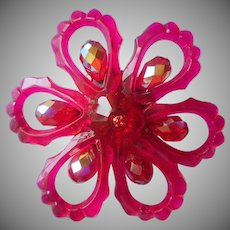 Vintage Pin Hot Pink and Red Glass Plastic Margarita Center
