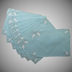 1950s Madeira Placemats Turquoise Appliqued Hand Embroidered