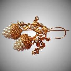 Acorns Vintage Pin Faux Pearls Rhinestones