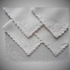 1920s Tea Napkins Cutwork Hand Embroidery Vintage Linen Butterflies