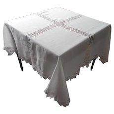 Antique Tablecloth Square Linen Crocheted Lace TLC
