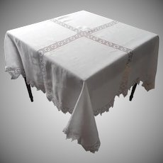 Antique Tablecloth Square Linen Crocheted Lace TLC