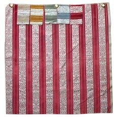 Vintage Fabric Sample Velvet Brocade Stripe Soft Red Upholstery