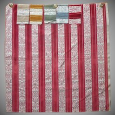Vintage Fabric Sample Velvet Brocade Stripe Soft Red Upholstery